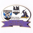 2012 NRL Grand Final Storm v Bulldogs Oval Pin Badge bs