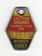 1987 Eastern Suburbs Leagues Club Member Badge