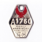 1974-75 Manly Warringah Leagues Club Associate Member Badge
