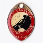 1981 West Canberra Football Club Member Badge