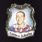 1967 Eastern Suburbs Roosters NSWRL Captain Jim Mattews Daily Mirror Pin Badge