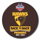 2014 Hawthorn Hawks AFL Premiers Back to Back SS Button Badge b