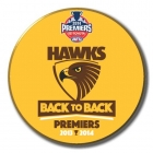 2014 Hawthorn Hawks AFL Premiers Back to Back SS Button Badge y