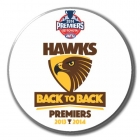 2014 Hawthorn Hawks AFL Premiers Back to Back SS Button Badge w