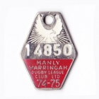 1974-75 Manly Warringah Leagues Club Member Badge